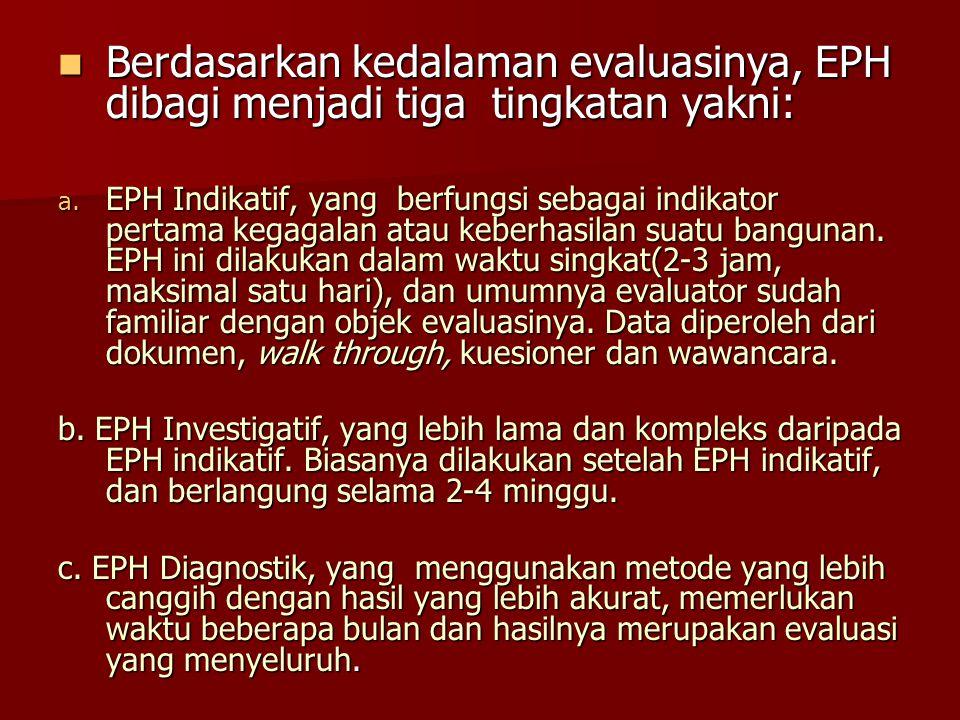 Berdasarkan kedalaman evaluasinya, EPH dibagi menjadi tiga tingkatan yakni: Berdasarkan kedalaman evaluasinya, EPH dibagi menjadi tiga tingkatan yakni