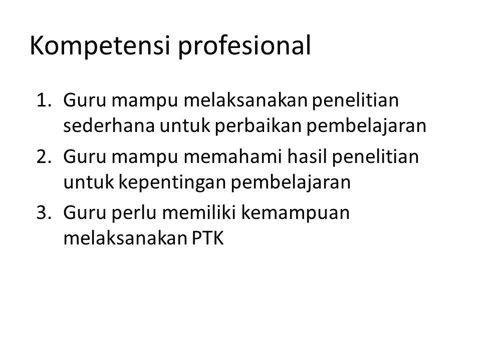 Kompetensi profesional 1.Guru mampu melaksanakan penelitian sederhana untuk perbaikan pembelajaran 2.Guru mampu memahami hasil penelitian untuk kepent
