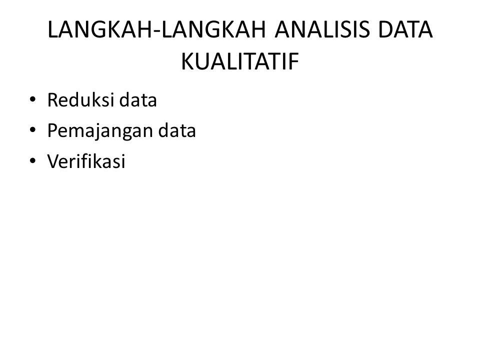 LANGKAH-LANGKAH ANALISIS DATA KUALITATIF Reduksi data Pemajangan data Verifikasi