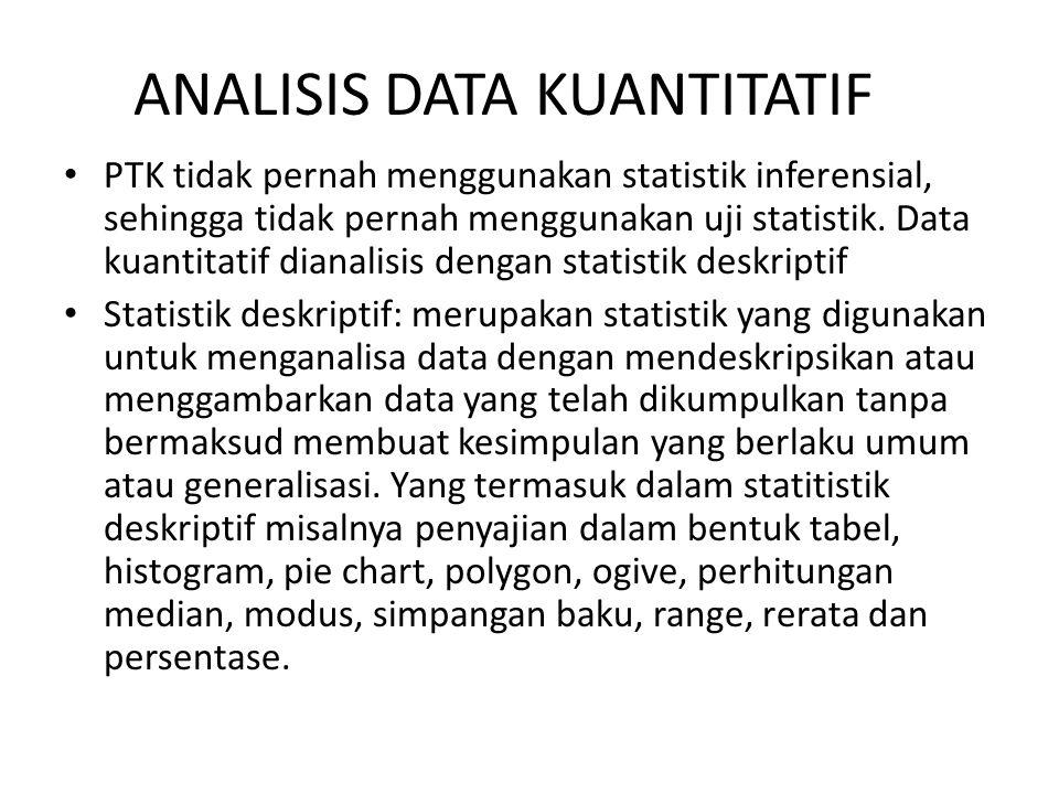 ANALISIS DATA KUANTITATIF PTK tidak pernah menggunakan statistik inferensial, sehingga tidak pernah menggunakan uji statistik. Data kuantitatif dianal