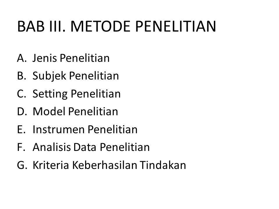 BAB III. METODE PENELITIAN A.Jenis Penelitian B.Subjek Penelitian C.Setting Penelitian D.Model Penelitian E.Instrumen Penelitian F.Analisis Data Penel