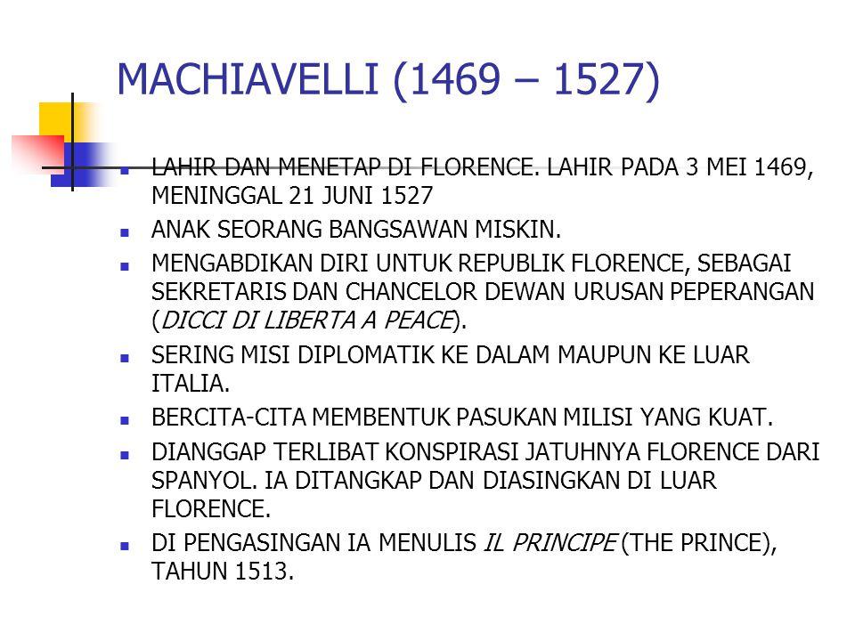 LAHIR DAN MENETAP DI FLORENCE. LAHIR PADA 3 MEI 1469, MENINGGAL 21 JUNI 1527 ANAK SEORANG BANGSAWAN MISKIN. MENGABDIKAN DIRI UNTUK REPUBLIK FLORENCE,