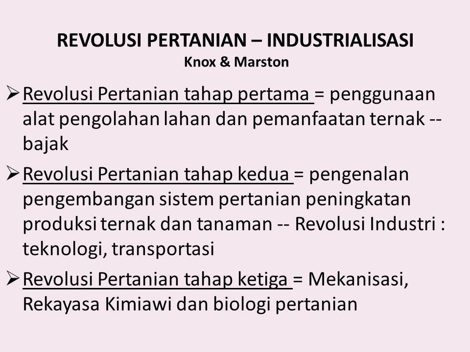REVOLUSI PERTANIAN – INDUSTRIALISASI Knox & Marston  Revolusi Pertanian tahap pertama = penggunaan alat pengolahan lahan dan pemanfaatan ternak -- ba