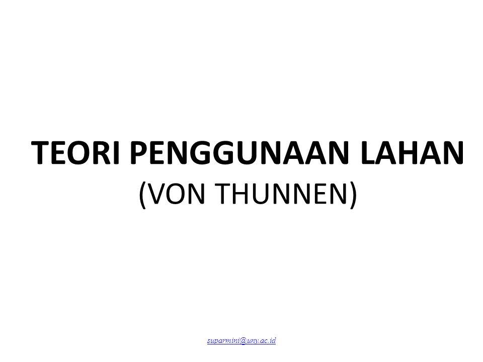 TEORI PENGGUNAAN LAHAN (VON THUNNEN) suparmini@uny.ac.id