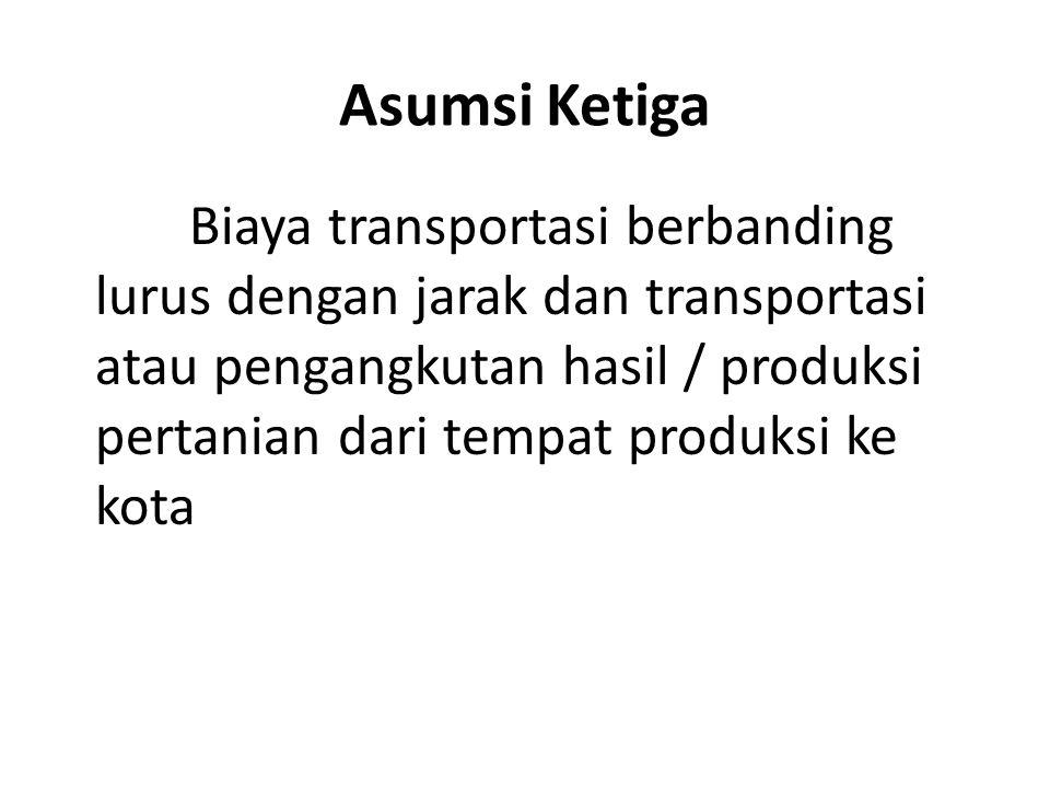 Asumsi Ketiga Biaya transportasi berbanding lurus dengan jarak dan transportasi atau pengangkutan hasil / produksi pertanian dari tempat produksi ke k