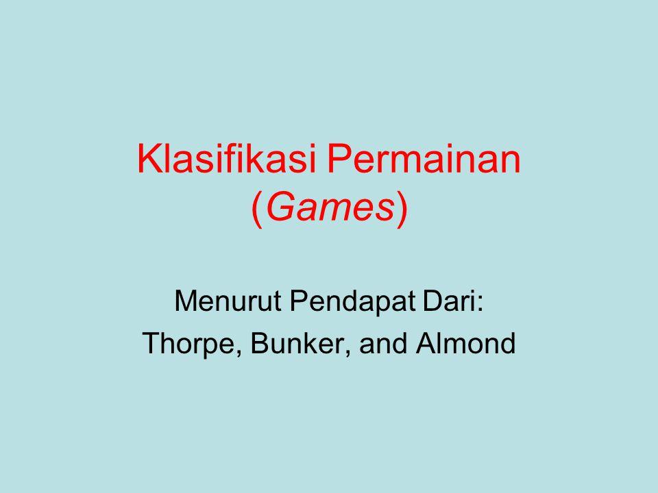 Klasifikasi Permainan (Games) Menurut Pendapat Dari: Thorpe, Bunker, and Almond