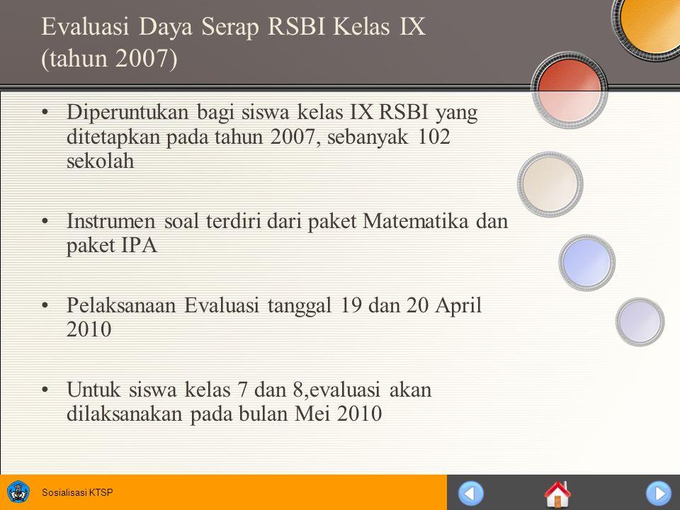 Sosialisasi KTSP Evaluasi Daya Serap RSBI Kelas IX (tahun 2007) Diperuntukan bagi siswa kelas IX RSBI yang ditetapkan pada tahun 2007, sebanyak 102 sekolah Instrumen soal terdiri dari paket Matematika dan paket IPA Pelaksanaan Evaluasi tanggal 19 dan 20 April 2010 Untuk siswa kelas 7 dan 8,evaluasi akan dilaksanakan pada bulan Mei 2010