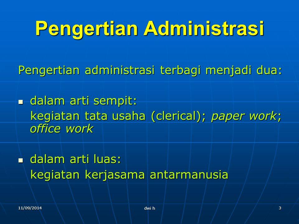 11/09/2014 dwi h 2 Terminologi Administrasi Berasal dari bahasa Inggris administer adalah kombinasi bahasa Latin ad + ministrare, yang berarti to serv