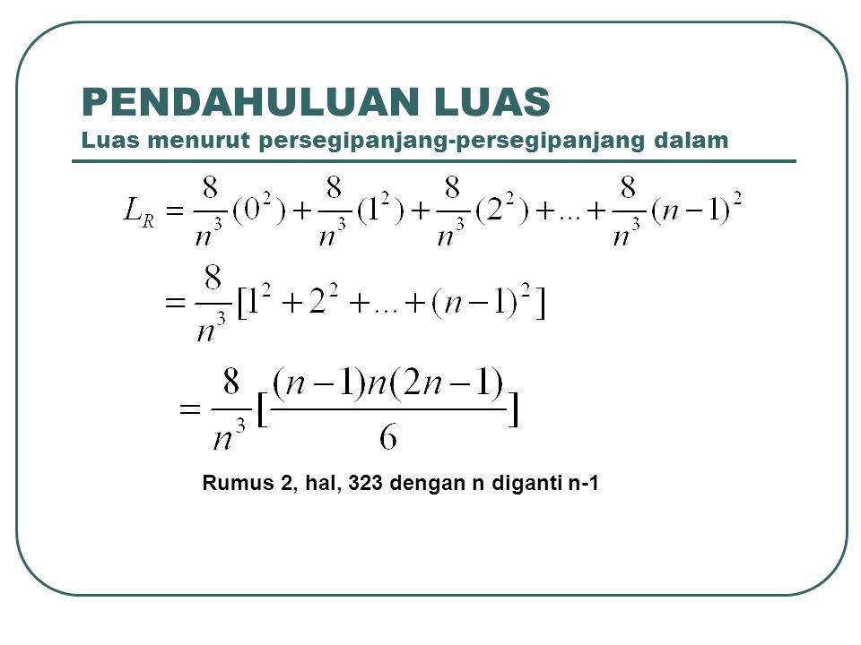 PENDAHULUAN LUAS Luas menurut persegipanjang-persegipanjang dalam Rumus 2, hal, 323 dengan n diganti n-1