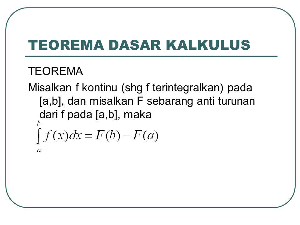 TEOREMA DASAR KALKULUS TEOREMA Misalkan f kontinu (shg f terintegralkan) pada [a,b], dan misalkan F sebarang anti turunan dari f pada [a,b], maka