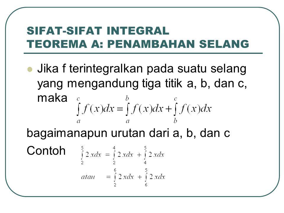 SIFAT-SIFAT INTEGRAL TEOREMA A: PENAMBAHAN SELANG Jika f terintegralkan pada suatu selang yang mengandung tiga titik a, b, dan c, maka bagaimanapun ur