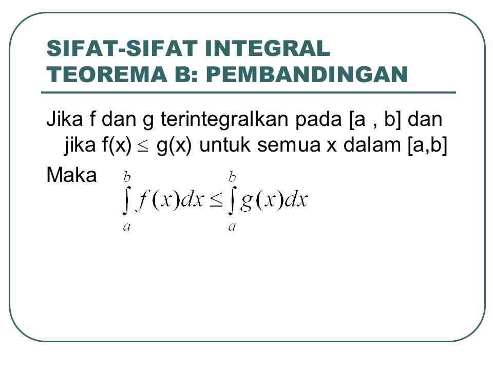 SIFAT-SIFAT INTEGRAL TEOREMA B: PEMBANDINGAN Jika f dan g terintegralkan pada [a, b] dan jika f(x) g(x) untuk semua x dalam [a,b] Maka