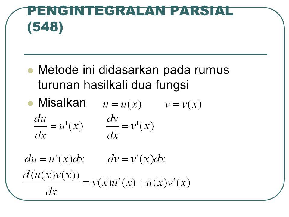 PENGINTEGRALAN PARSIAL (548) Metode ini didasarkan pada rumus turunan hasilkali dua fungsi Misalkan