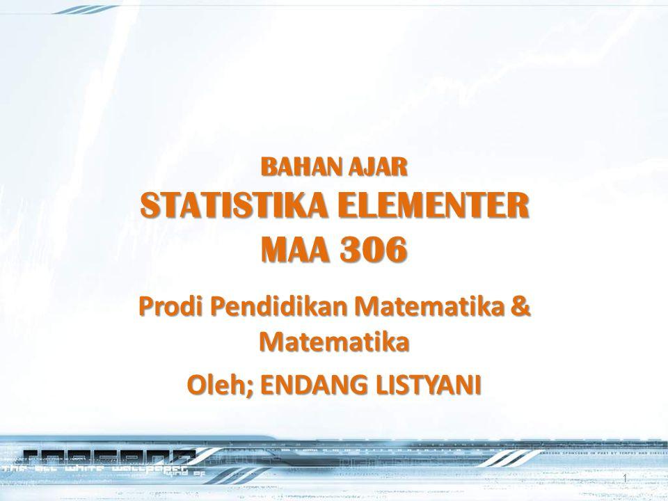 BAHAN AJAR STATISTIKA ELEMENTER MAA 306 Prodi Pendidikan Matematika & Matematika Oleh; ENDANG LISTYANI 1