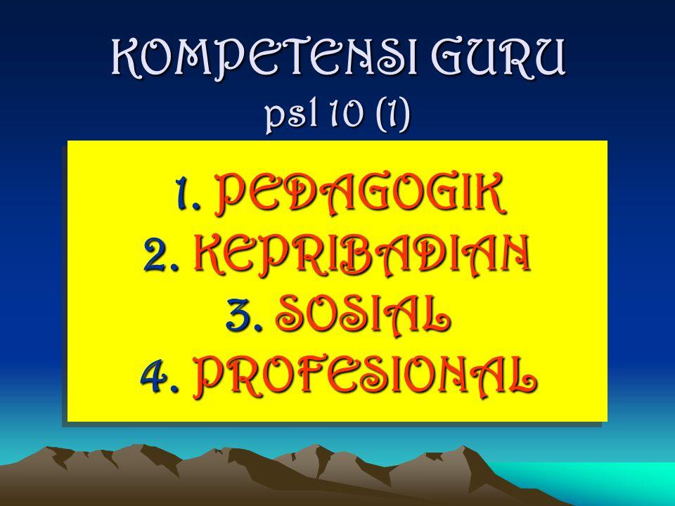 KOMPETENSI GURU psl 10 (1) 1. PEDAGOGIK 2. KEPRIBADIAN 3. SOSIAL 4. PROFESIONAL 1. PEDAGOGIK 2. KEPRIBADIAN 3. SOSIAL 4. PROFESIONAL