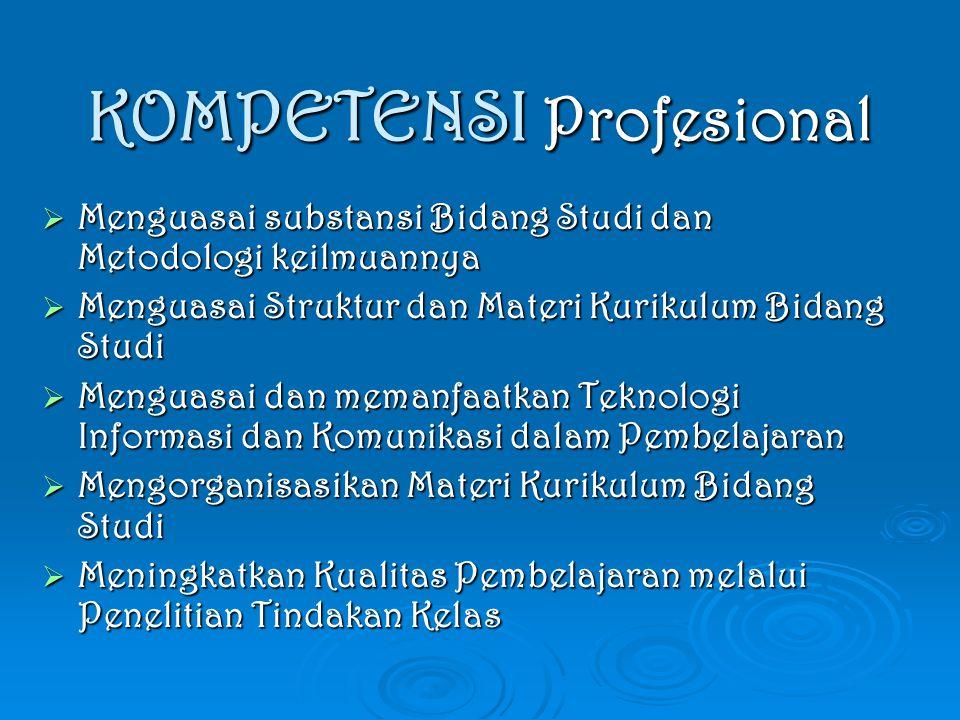 KOMPETENSI Profesional  Menguasai substansi Bidang Studi dan Metodologi keilmuannya  Menguasai Struktur dan Materi Kurikulum Bidang Studi  Menguasa