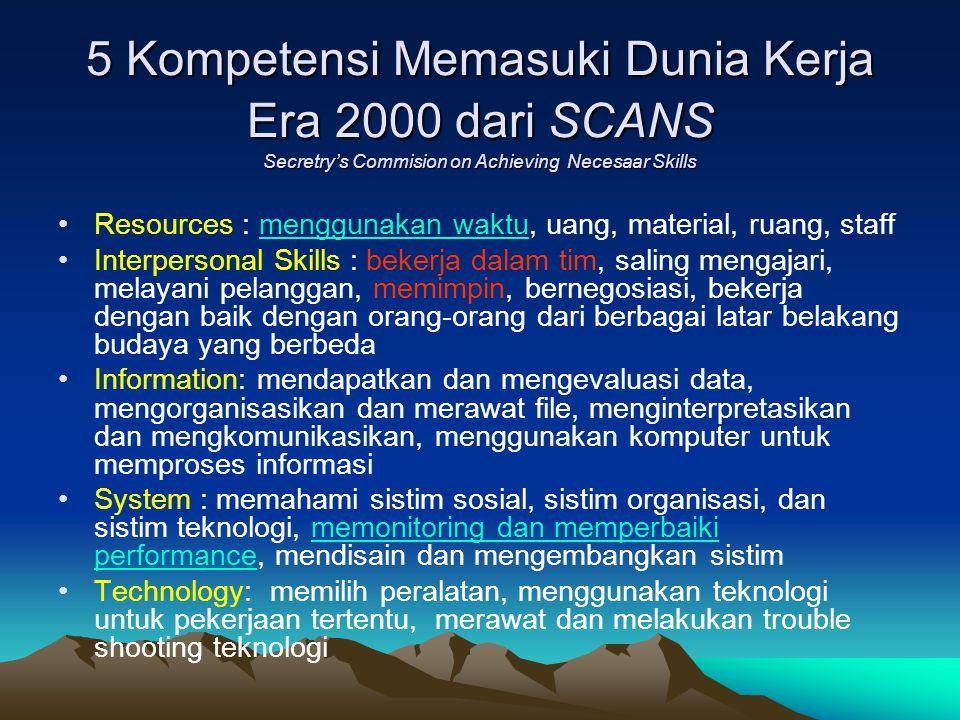 5 Kompetensi Memasuki Dunia Kerja Era 2000 dari SCANS Secretry's Commision on Achieving Necesaar Skills Resources : menggunakan waktu, uang, material,