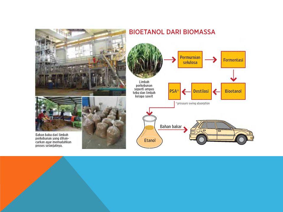 Pemanfaatan Energi Bioetanol Bioetanol adalah cairan biokimia dari proses fermentasi gula dari sumber karbohidrat menggunakan bantuan mikroorganisme.