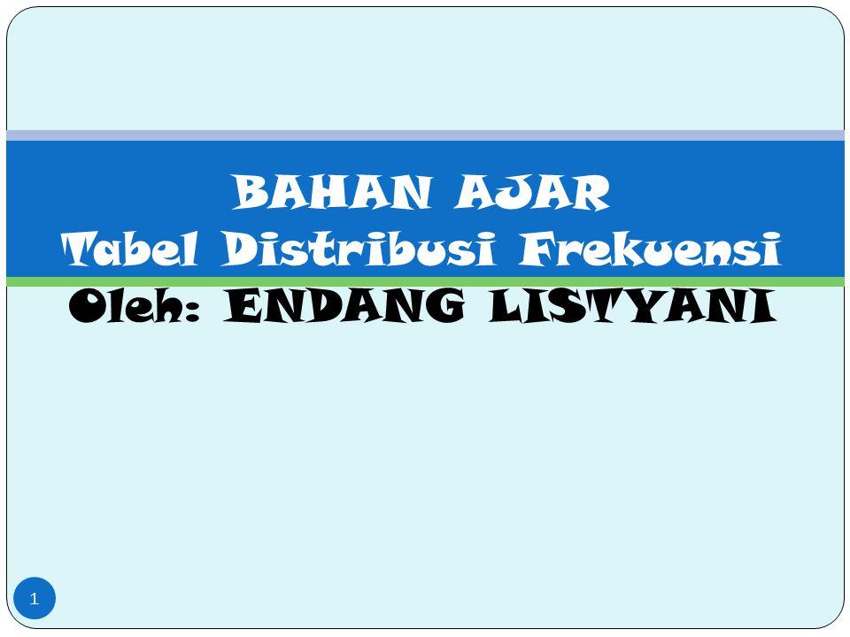 BAHAN AJAR Tabel Distribusi Frekuensi Oleh: ENDANG LISTYANI 1