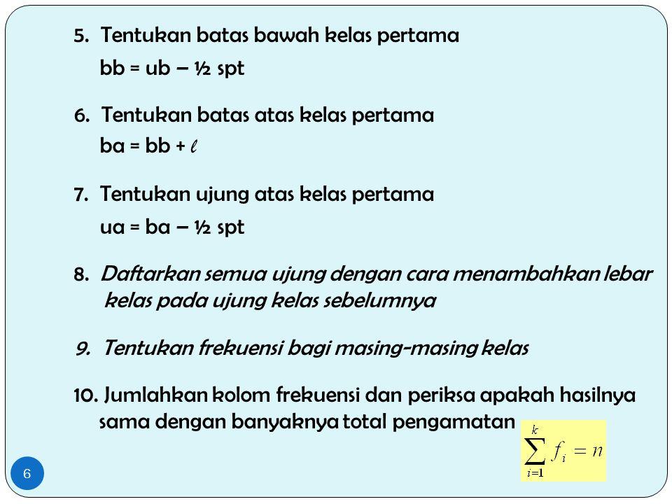 5. Tentukan batas bawah kelas pertama bb = ub – ½ spt 6. Tentukan batas atas kelas pertama ba = bb + l 7. Tentukan ujung atas kelas pertama ua = ba –