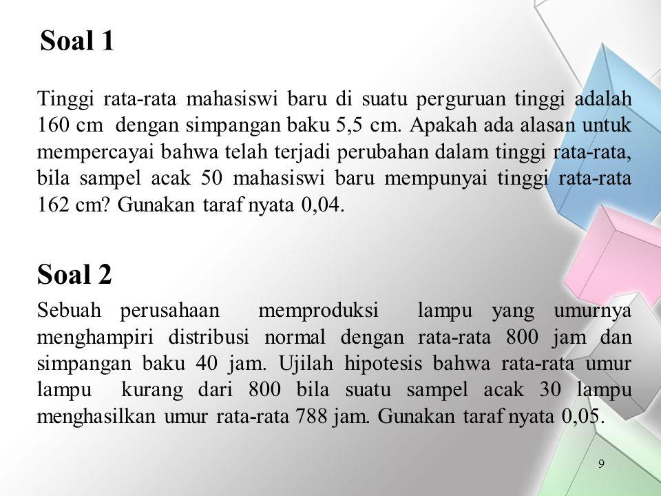Soal 11 Sebuah penelitian telah dilakukan untuk membandingkan hasil belajar Matematika di kelas I SMP untuk siswa putra dan putri.