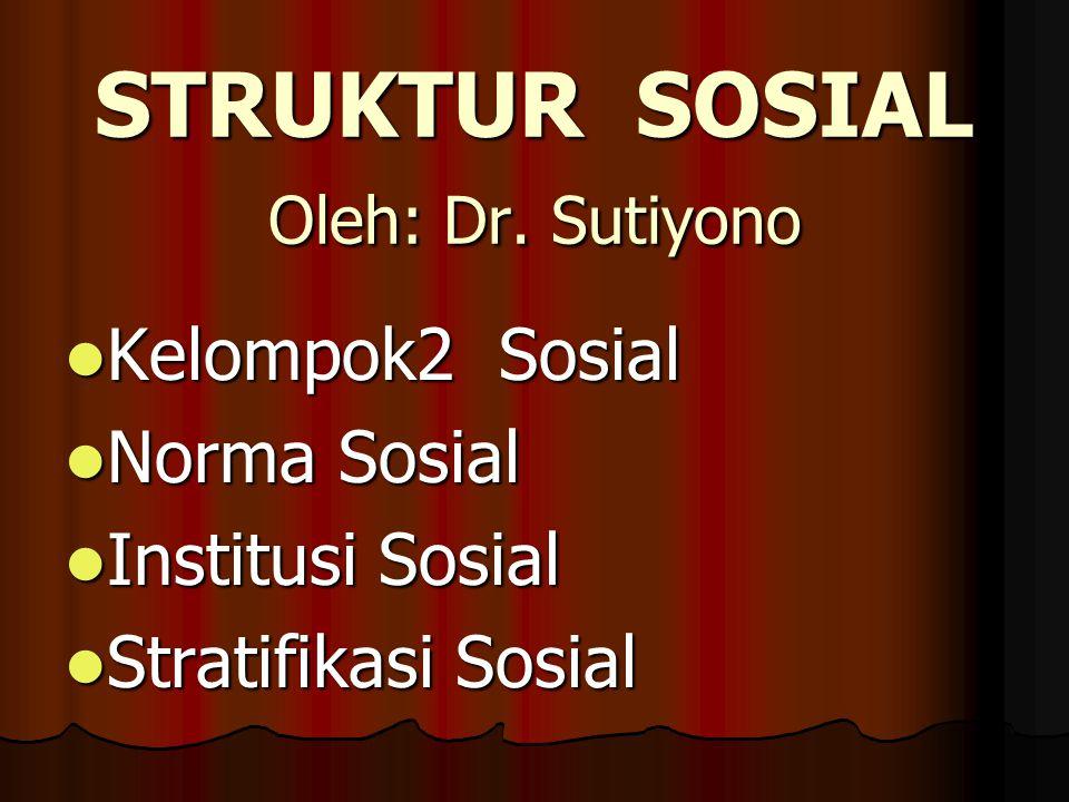 STRUKTUR SOSIAL Oleh: Dr. Sutiyono Kelompok2 Sosial Kelompok2 Sosial Norma Sosial Norma Sosial Institusi Sosial Institusi Sosial Stratifikasi Sosial S