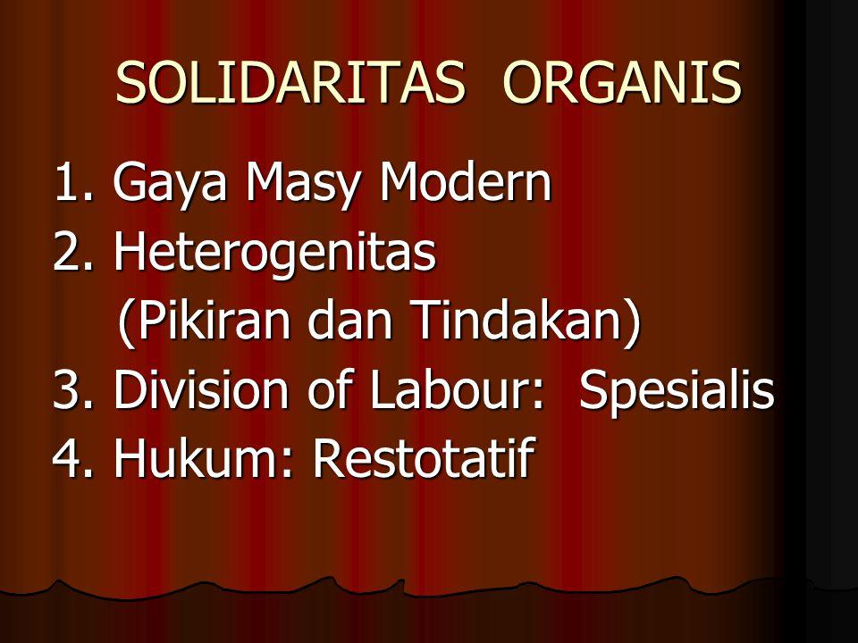 SOLIDARITAS ORGANIS 1. Gaya Masy Modern 2.