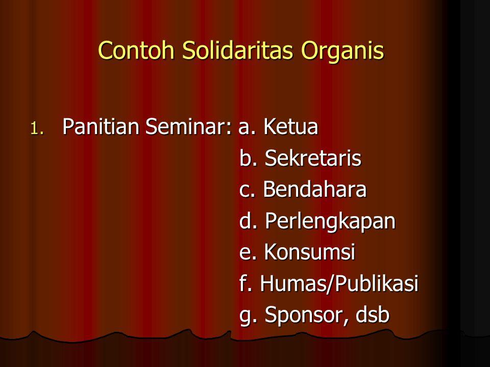 Contoh Solidaritas Organis 1. Panitian Seminar: a.