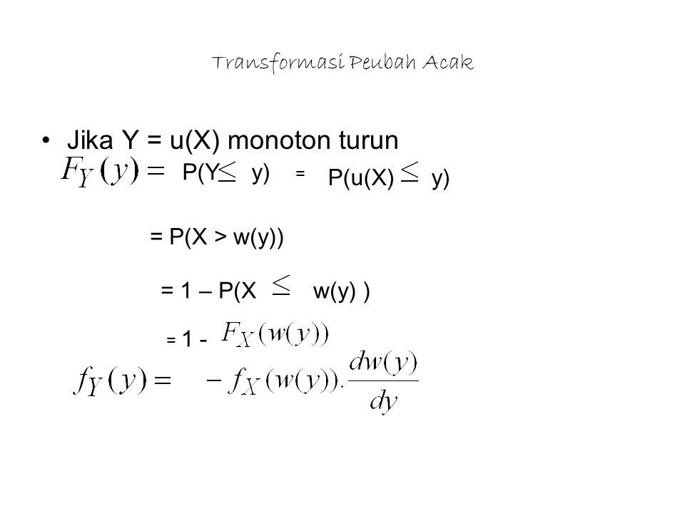 Transformasi Peubah Acak Jika Y = u(X) monoton turun P(Y y) = P(u(X) y) = P(X > w(y)) = 1 – P(X w(y) ) = 1 -