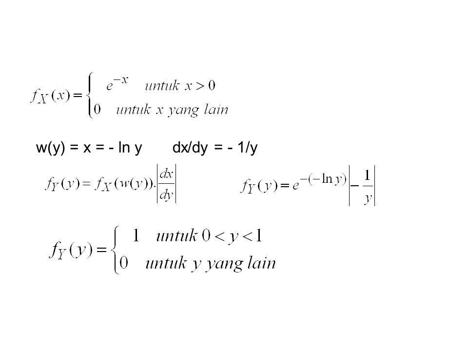 w(y) = x = - ln ydx/dy = - 1/y