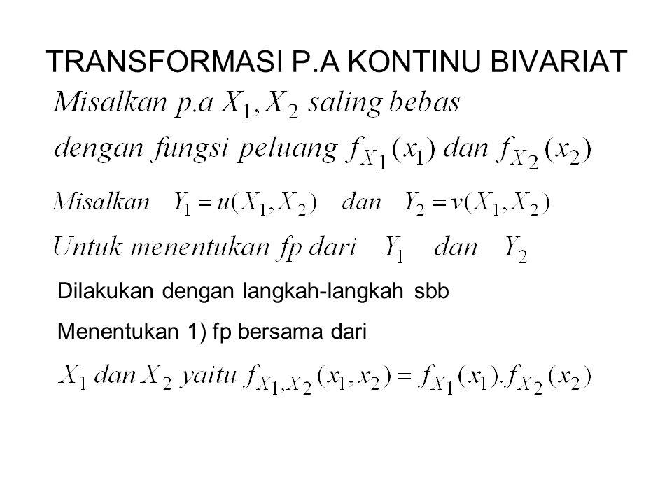 TRANSFORMASI P.A KONTINU BIVARIAT Dilakukan dengan langkah-langkah sbb Menentukan 1) fp bersama dari