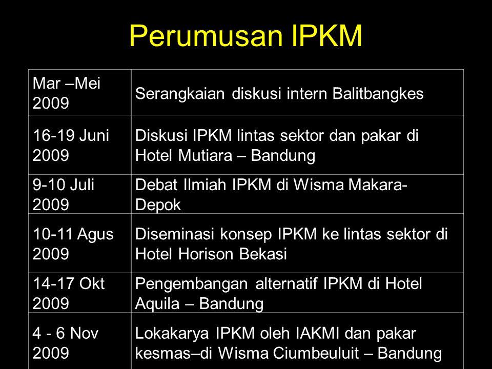 Perumusan IPKM Mar –Mei 2009 Serangkaian diskusi intern Balitbangkes 16-19 Juni 2009 Diskusi IPKM lintas sektor dan pakar di Hotel Mutiara – Bandung 9