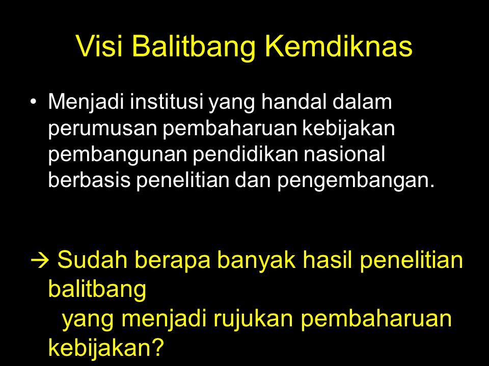 Visi Balitbang Kemdiknas Menjadi institusi yang handal dalam perumusan pembaharuan kebijakan pembangunan pendidikan nasional berbasis penelitian dan p