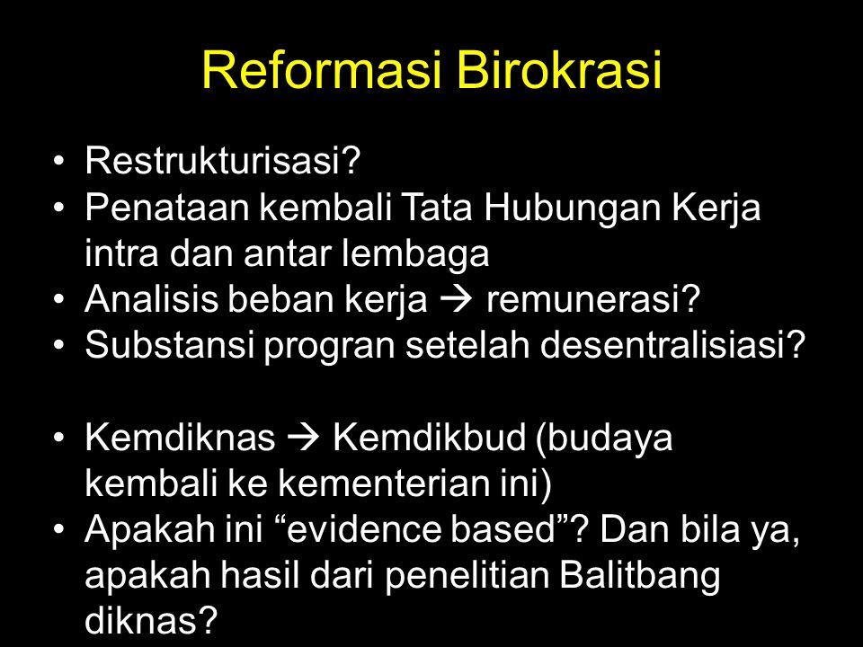 Reformasi Birokrasi Restrukturisasi? Penataan kembali Tata Hubungan Kerja intra dan antar lembaga Analisis beban kerja  remunerasi? Substansi progran
