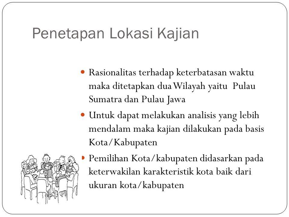 Penetapan Lokasi Kajian Rasionalitas terhadap keterbatasan waktu maka ditetapkan dua Wilayah yaitu Pulau Sumatra dan Pulau Jawa Untuk dapat melakukan
