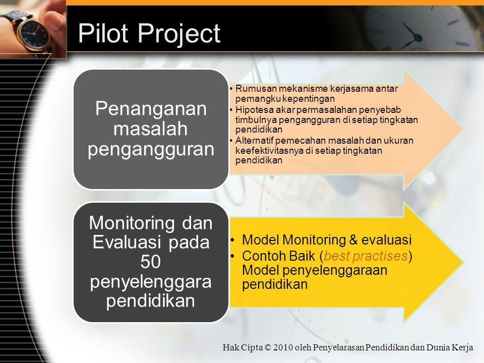 Pilot Project Rumusan mekanisme kerjasama antar pemangku kepentingan Hipotesa akar permasalahan penyebab timbulnya pengangguran di setiap tingkatan pe