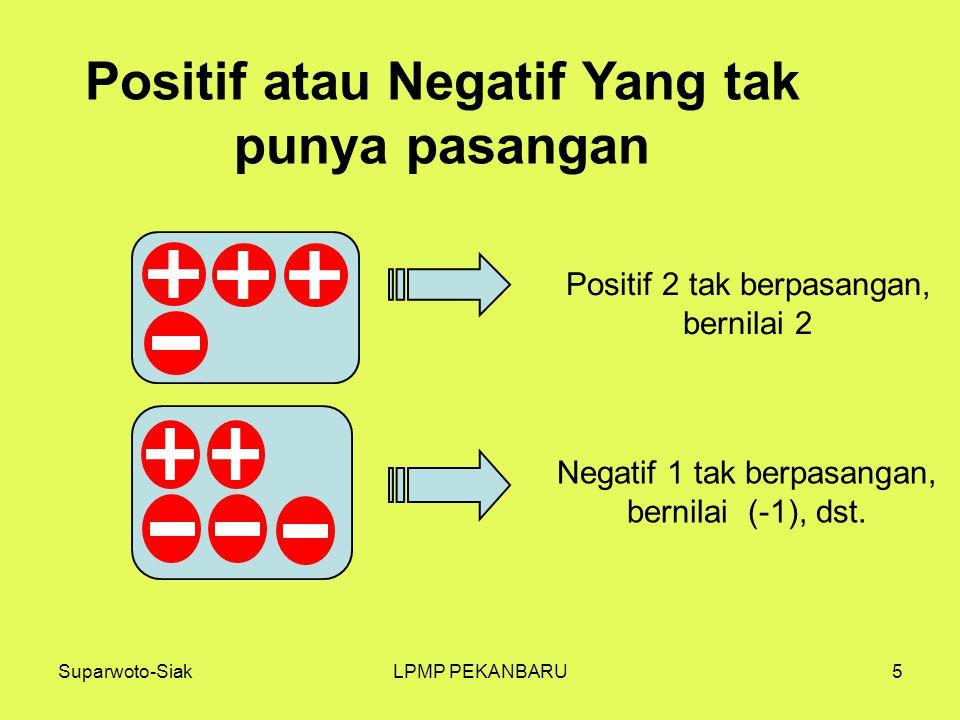 Suparwoto-SiakLPMP PEKANBARU5 Positif atau Negatif Yang tak punya pasangan Positif 2 tak berpasangan, bernilai 2 Negatif 1 tak berpasangan, bernilai (-1), dst.