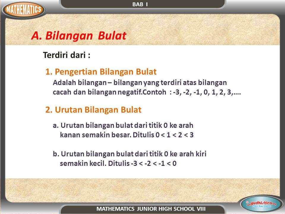 B.Operasi Hitung pada Bilangan Bulat 1. Operasi Penjumlahan Terdiri dari : a.
