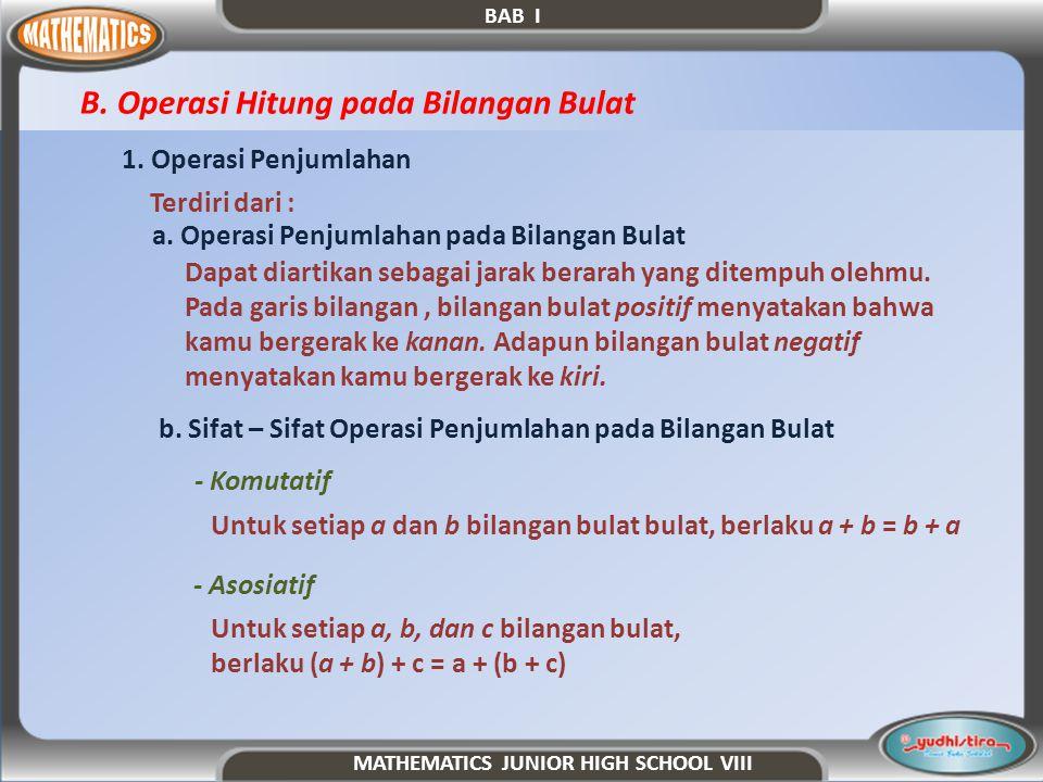 3.Sifat – Sifat Operasi Penjumlahan pada Bilangan Bulat a.