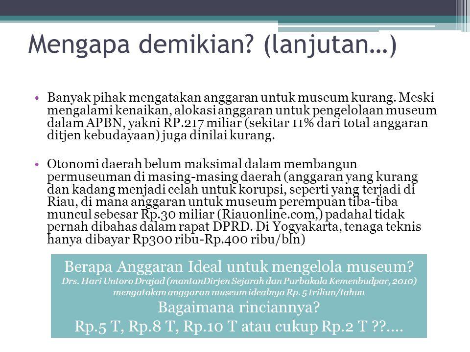 Mengapa demikian.(lanjutan…) Banyak pihak mengatakan anggaran untuk museum kurang.