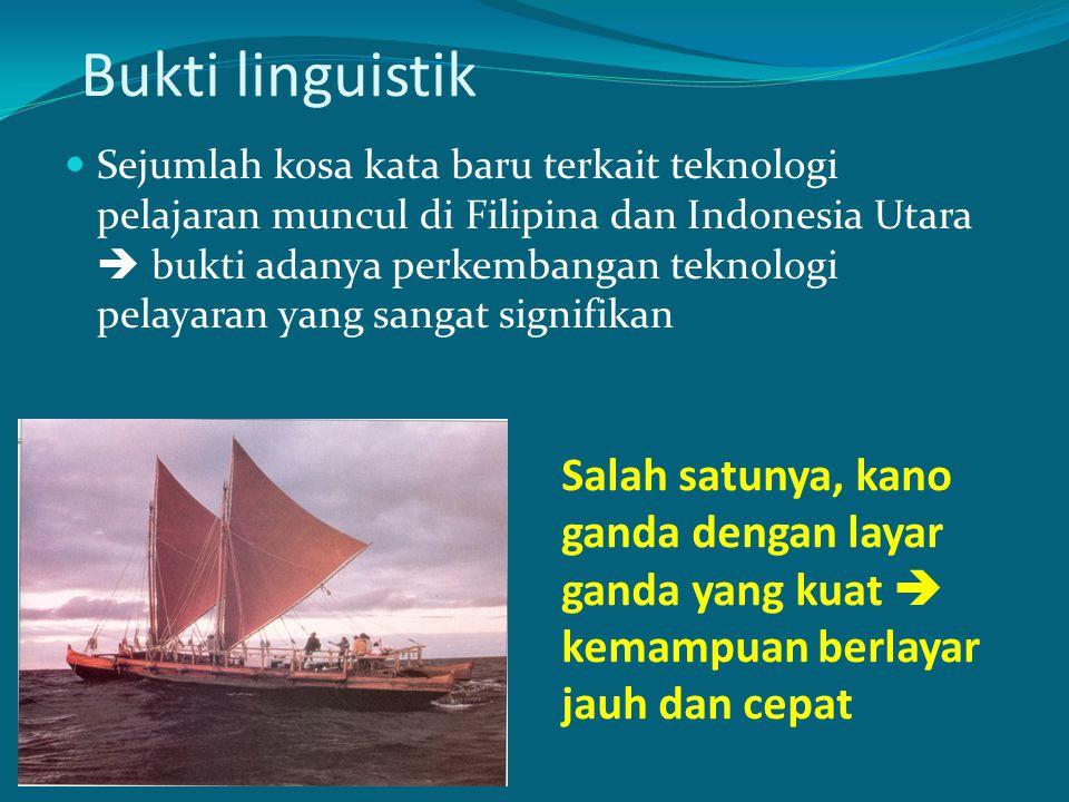 Bukti linguistik Sejumlah kosa kata baru terkait teknologi pelajaran muncul di Filipina dan Indonesia Utara  bukti adanya perkembangan teknologi pela