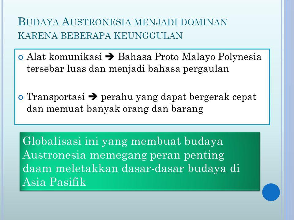 B UDAYA A USTRONESIA MENJADI DOMINAN KARENA BEBERAPA KEUNGGULAN Alat komunikasi  Bahasa Proto Malayo Polynesia tersebar luas dan menjadi bahasa perga