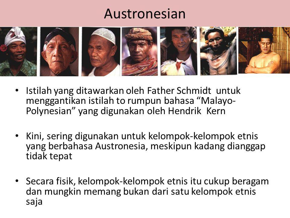 """Austronesian Istilah yang ditawarkan oleh Father Schmidt untuk menggantikan istilah to rumpun bahasa """"Malayo- Polynesian"""" yang digunakan oleh Hendrik"""