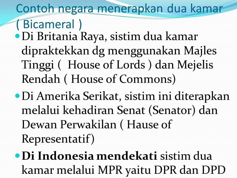 Model negara menerapkan dibedakan; Federalisme : bahwa negara2 bagian mendapat sejumlah kursi yg sama di majlis tinggi badan legislatif tanpa memperdu