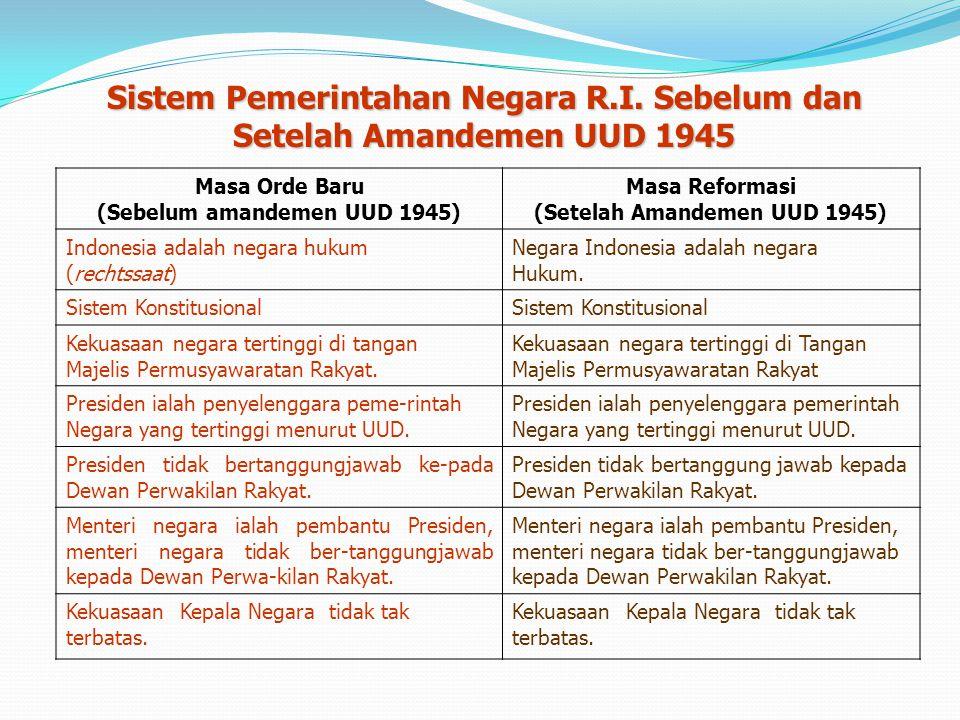 1.Bentuk negara kesatuan dgn prinsip otonomi yang luas. 2.Bentuk pemerintahan adalah republik, sedangkan sistem pemerintahan adalah presidensial. 3.Pe