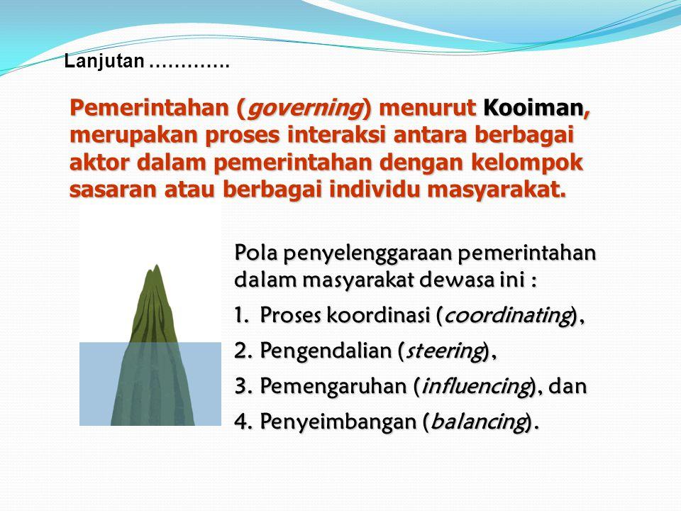 Pemerintahan (governing) menurut Kooiman, merupakan proses interaksi antara berbagai aktor dalam pemerintahan dengan kelompok sasaran atau berbagai individu masyarakat.