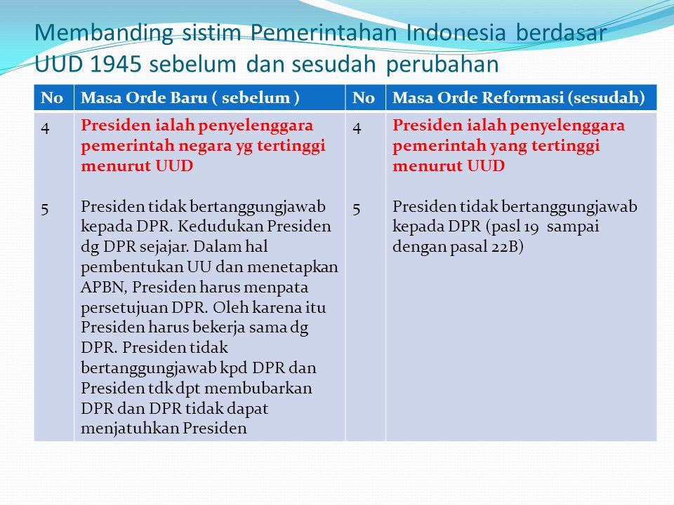 Membanding sistim Pemerintahan Indonesia berdasar UUD 1945 sebelum dan sesudah perubahan NoMasa Orde Baru (Sebelum perubahan UUD 1945) NoMasa Orde Ref