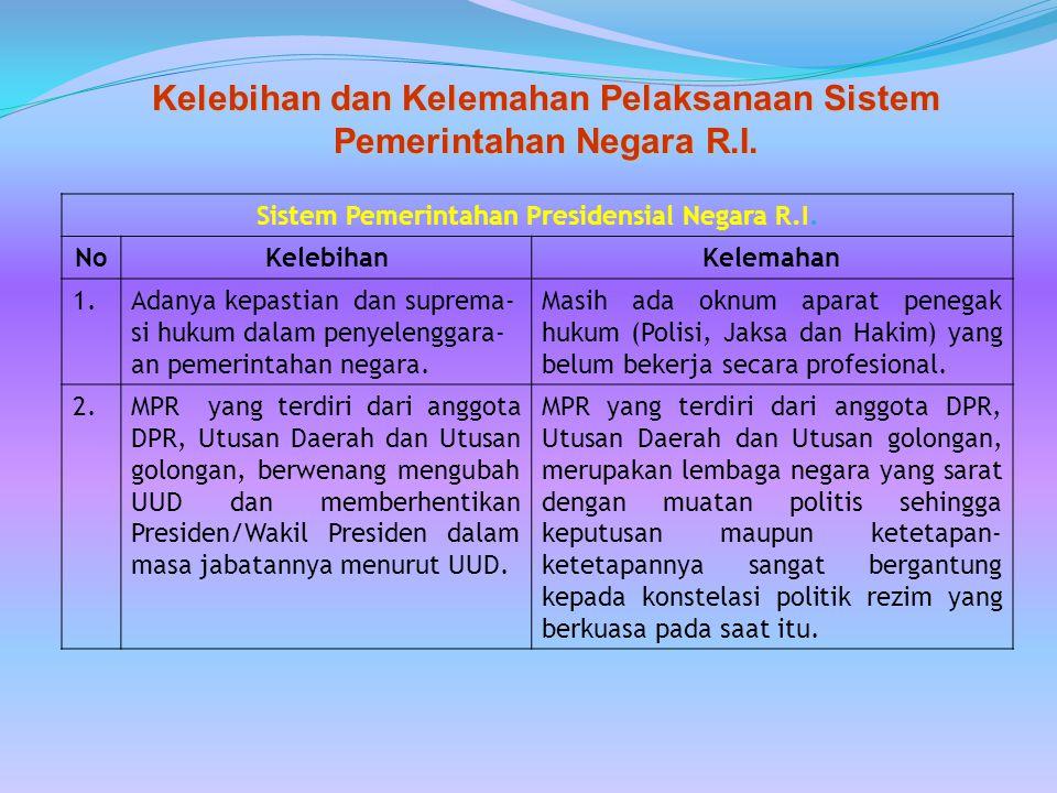 Kelebihan dan Kelemahan Pelaksanaan Sistem Pemerintahan Negara R.I. No KelebihanKelemahan 1.Adanya kepastian dan suprema- si hukum dalam penyelenggara