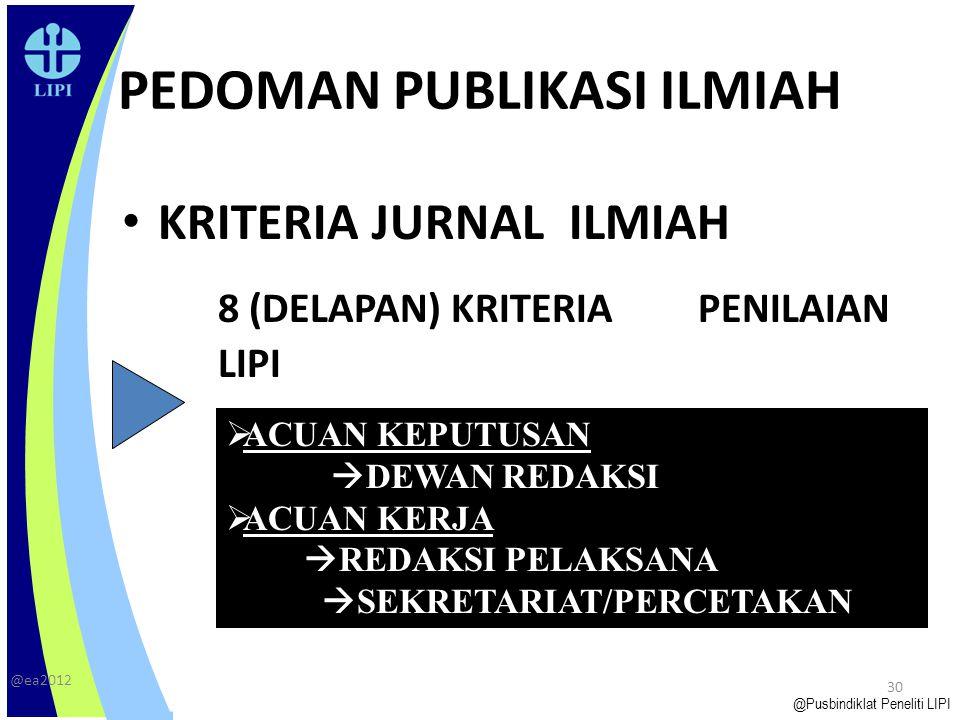 Latar Belakang 29 Tahun 1975, LIPI dan Dikti memberikan klasifikasi MI terbitan lembaga-lembaga litbang di Indonesia dengan menekankan pada isi dan substansi terbitan  kriteria: ilmiah, semi ilmiah populer, dan populer Tahun 2005, LIPI mengeluarkan Pedoman Akreditasi Majalah Ilmiah melalui Peraturan Kepala LIPI Nomor 01/E/2005, bentuk tanggung jawab LIPI sebagai instansi pembina jabatan fungsional peneliti.