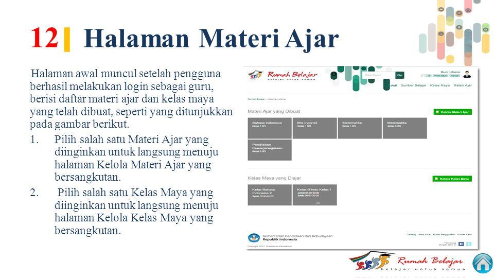 12 | Halaman Materi Ajar Halaman awal muncul setelah pengguna berhasil melakukan login sebagai guru, berisi daftar materi ajar dan kelas maya yang tel